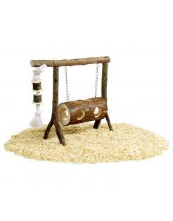Flamingo Knaagdierenspeelgoed Schommel - Speelgoed - 31x25 cm Bruin
