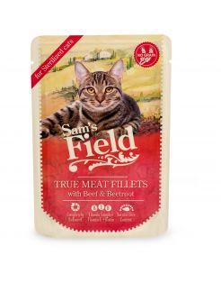 Sam's Field Cat Maaltijdzakjes Sterilized  True Meat Filets - Kattenvoer - Kip Rundvlees Rode Biet 85 g