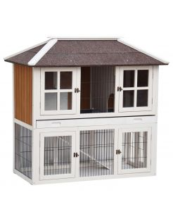 Homestyle Konijnenhok Palace - Dierenverblijf - 125x68x118 cm Wit Naturel