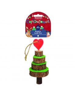 Rosewood Cupid & Comet Kerstboom Voor Kleine Knagers - Speelgoed - 7 x 7 x 16.5 cm Bruin