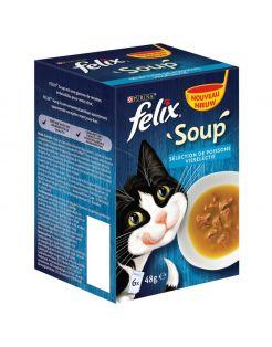 Felix Soup Vis Selectie - Kattenvoer - Kabeljauw Tonijn Schol 6x48 g