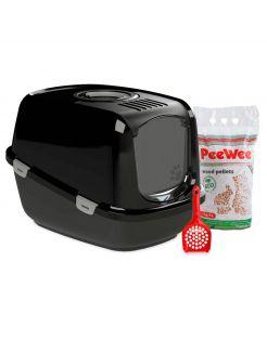 Peewee Startpakket Ecodome - Kattenbak - 68.5x51x36 cm Zwart Zwart