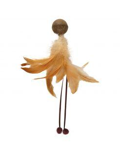 Flamingo Catnip Balletje Met Veer - Kattenspeelgoed - 180x90x170 mm Beige Bruin
