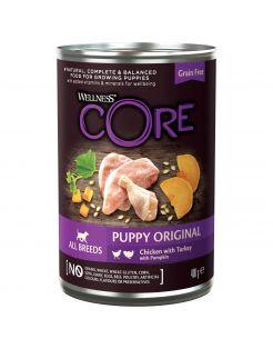 Wellness Core Grain Free 95 Puppy - Hondenvoer - Kip Kalkoen Pompoen 400 g