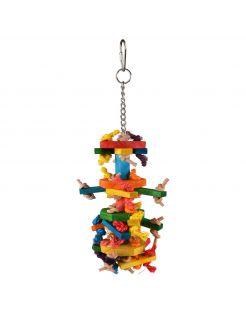 Flamingo Vogelspeelgoed Ace Multi - Vogelspeelgoed - 8x8x27 cm Mix