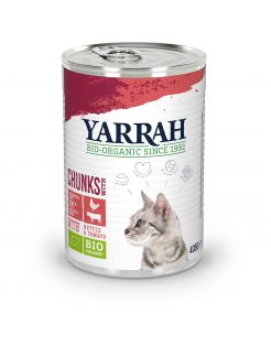 Yarrah Bio Kat Blik Brokjes In Saus - Kattenvoer - Kip Rund 405 g