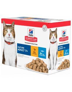 Hill's Feline Maaltijdzakjes Senior Multipack - Kattenvoer - Kip 12x85 g
