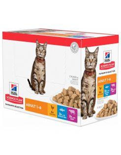 Hill's Feline Maaltijdzakjes Adult Multipack - Kattenvoer - Mix Rund Zeevis 12x85 g