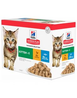 Hill's Feline Maaltijdzakjes Kitten Multipack - Kattenvoer - Mix Mix Zeevis 12x85 g