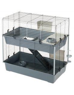 Ferplast Konijnenkooi Rabbit 100 Dubbel - Dierenverblijf - 95x57x93.5 cm Grijs