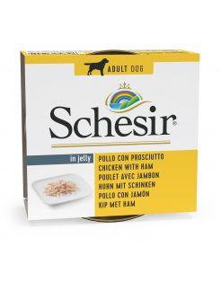 Schesir Hond Blik Gelei 150 g - Hondenvoer - Kipfilet&Ham