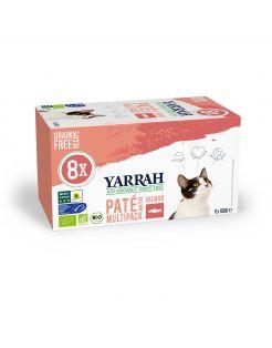 Yarrah Bio Kat Alu Paté Multipack - Kattenvoer - Zalm 8x100 g
