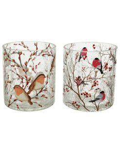 Decoris Windlicht Vogels - Decoratie - Ø9x10 cm Transparant