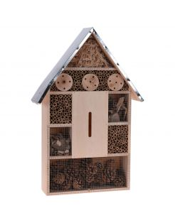 Homestyle Insectenhotel Metalen Dak - Nestkast - 39x12x58 cm Naturel