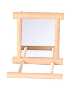 Trixie Spiegel Met Houten Frame - Vogelspeelgoed - 9x9 cm Houtkleur