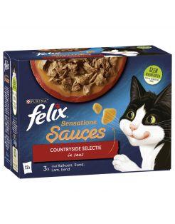 Felix Multipack Sensations Sauces Countryside Selectie - Kattenvoer - Kalkoen Rund Lam 12x85 g