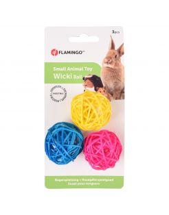 Flamingo Knaagdierspeelgoed Wicki Balls - Speelgoed - 3.5x3.5 cm Blauw Geel Roze
