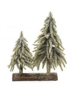 Everlands Mini Bomen Op Stronk - Kerstboom - 28x16x28 cm Groen Tips 218