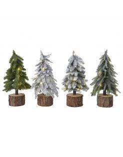 Everlands Mini Boom - Kerstboom - Ø15x37 cm Groen 15 led 4 Assorti