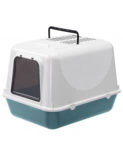 Adori Kattentoilet Clear Cat - Kattenbak - 39.5x52.5x38 cm Petrol Wit