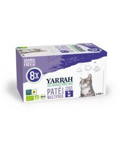 Yarrah Bio Kat Alu Paté Multipack - Kattenvoer - Kip Kalkoen 8x100 g