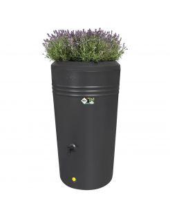 Elho Green Basics Regenton Living Black Met Plantenbak - Regenwatertonnen - 200 l Zwart