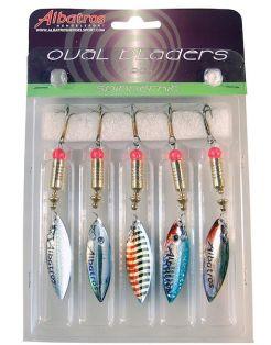 Albatros Spinnerset Ovale Blinkers - Spinners - 10 g Blauw Zwart Wit 5 stuks Roofvis 4