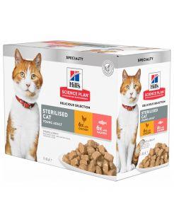 Hill's Feline Maaltijdzakjes Adult Sterilised - Kattenvoer - Kip Zalm 12x85 g