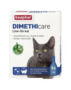 Beaphar Dimethicare Line-On Kat - Anti vlooien en tekenmiddel - 6x1 ml