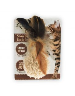 All For Paws Snow Ball - Kattenspeelgoed - 5x5x3 cm Assorti Wit