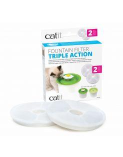Catit Filters Triple Action 2 Pack - Kattendrinkbak - 4x14.5x17.5 cm Wit
