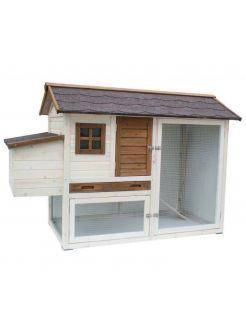 Homestyle Hok Olivia - Kippenhok - 171x81x110 cm Wit Bruin
