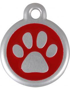 Red Dingo Hondenpenning Qr Code Pootje - Hondenadresdrager - Ø25 mm Rood