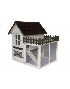 Homestyle Konijnenhok Estate - Dierenverblijf - 130x120x132 cm Wit Grijs