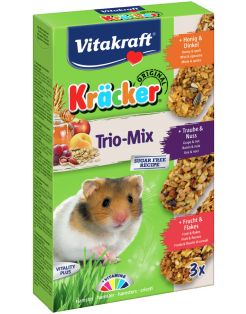 Vitakraft Hamster Kracker 3in1 Mulitvitamine/Honing/Fruit - Knaagdiersnack - 168 g
