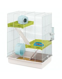 Ferplast Hamsterkooi Hamster Tris - Dierenverblijf - 46x29.5x58 cm Wit Blauw