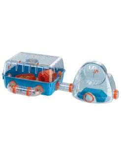 Ferplast Hamsterkooi Combi 2 - Dierenverblijf - 79.5x29.5x26x3 cm Blauw Oranje