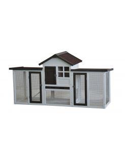 Homestyle Konijnenhok Fenna - Dierenverblijf - 180x62x93 cm Bruin Wit