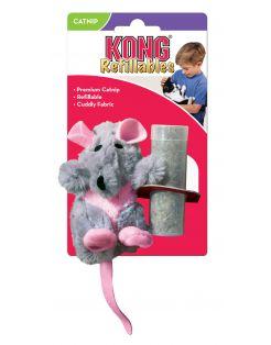 Kong Speeltje Pluche Rat - Kattenspeelgoed - 10 cm Grijs Groen