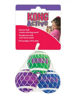 Kong Tennis Ball With Bells - Kattenspeelgoed - 4x4x4 cm Assorti