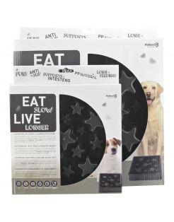 Eat Slow Live Longer Anti-Schrok Voerbak Ster Grijs - Hondenvoerbak