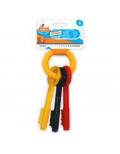 Nylabone Puppy Teething Key Flexible Geel&Blauw&Rood - Hondenspeelgoed