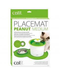 Catit Placemat Peanut Inclusief Rvs Bakje 35 x 23 x 3 cm - Kattendrinkbak