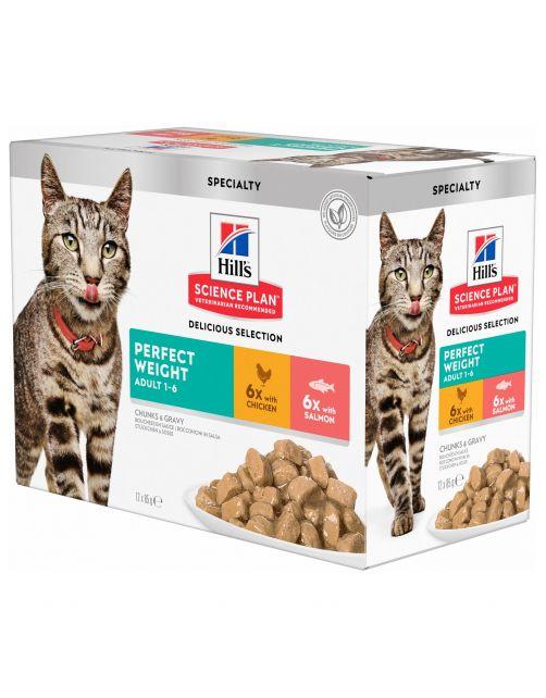 Hill's Feline Pouch Adult Perfect Weight Multipack - Kattenvoer - 12x85 g