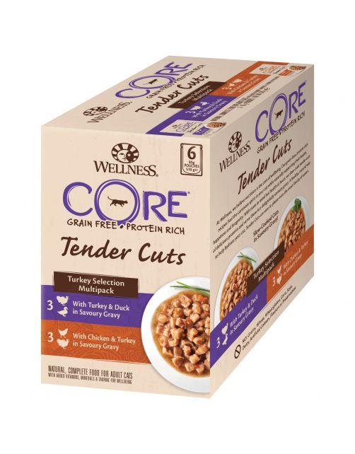 Wellness Core Tender Cuts Turkey Selection - Kattenvoer - Kalkoen 6x85 g