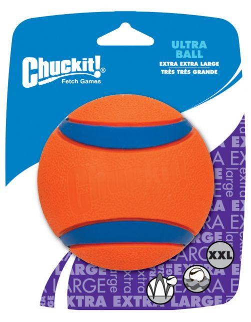 Chuckit Ultra Ball - Hondenspeelgoed - 10 cm Oranje Blauw Xxl