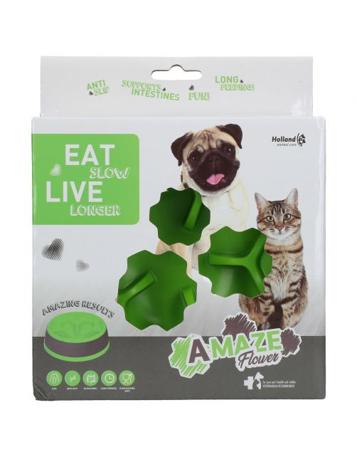 Eat Slow Live Longer Anti-Schrok Voerbak Flower Groen - Hondenvoerbak