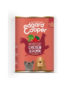 Edgard&Cooper Blik Chicken Salmon Senior - Hondenvoer - Kip Zalm Broccoli 400 g Graanvrij