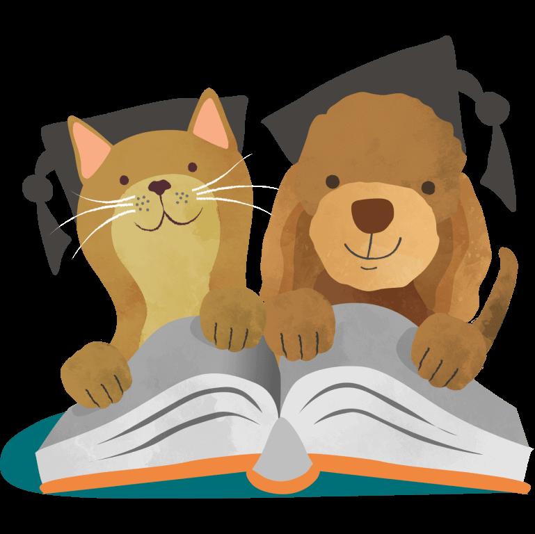 Edgard & Cooper kat en hond lezen